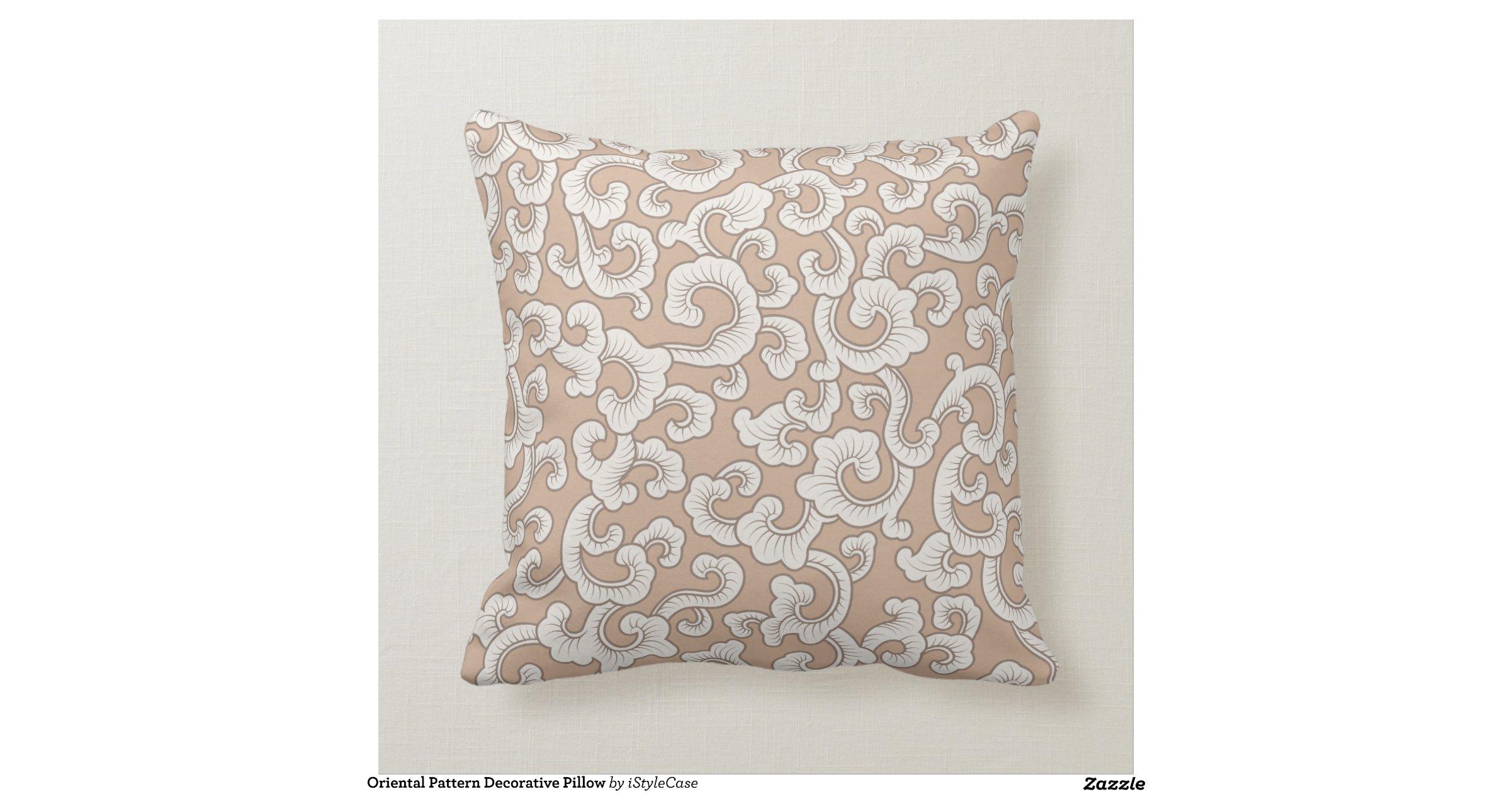 Oriental Decorative Pillows : Oriental Pattern Decorative Pillow Zazzle