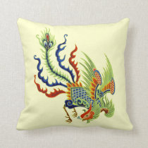 Oriental Peacock Vintage Art Throw Pillow