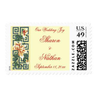Oriental Peony Wedding Stamps