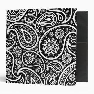 Oriental Persian Paisley, Dots - Black White Binder