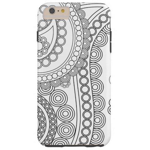 Oriental Persian Paisley, Dots - Black White Tough iPhone 6 Plus Case