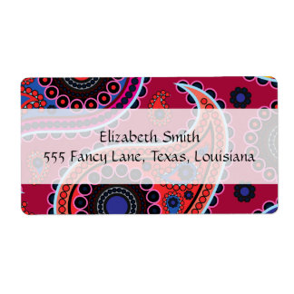 Oriental Persian Paisley, Dots - Red Blue Pink Label