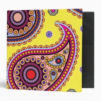 Oriental Persian Paisley, Dots - Yellow Blue Pink Binders