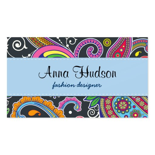 Oriental Persian Paisley - Green Pink Blue Yellow Business Card
