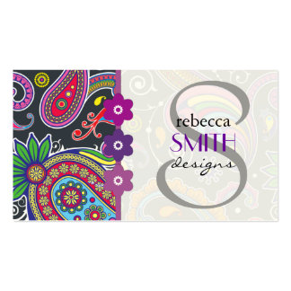Oriental Persian Paisley - Green Pink Blue Yellow Double-Sided Standard Business Cards (Pack Of 100)