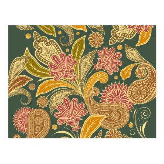 Oriental Persian Paisley - Green Yellow Red Postcard