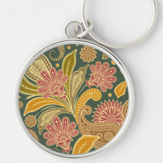Oriental Persian Paisley - Green Yellow Red Silver-Colored Round Keychain