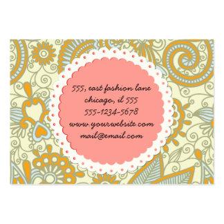 Oriental Persian Paisley, Swirls - Blue Orange Large Business Card