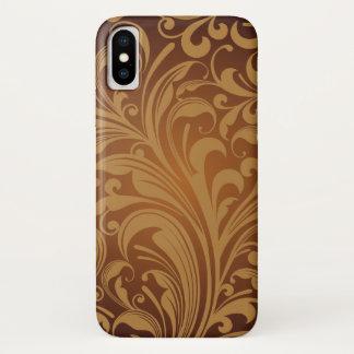 Oriental Persian Paisley, Swirls - Brown Black iPhone X Case