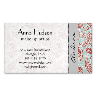 Oriental Persian Paisley, Swirls - Red Blue Business Card Magnet