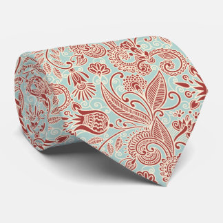 Oriental Persian Paisley, Swirls - Red Blue Neck Tie