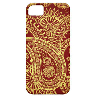 Oriental Persian Paisley, Swirls - Red Yellow iPhone 5 Cases
