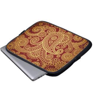 Oriental Persian Paisley, Swirls - Red Yellow Computer Sleeve