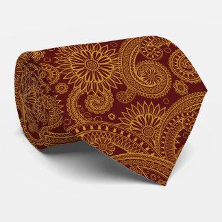 Oriental Persian Paisley, Swirls - Red Yellow Neck Tie