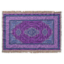 Oriental Persian Purple Throw Blanket