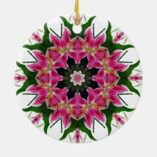 ORIENTAL PINK LILY MANDALA STYLE BOUQUET CERAMIC ORNAMENT