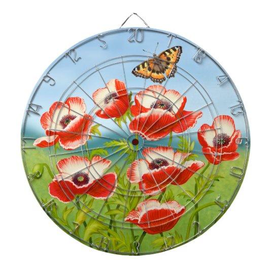 Oriental Poppy Butterfly Garden Dart Board
