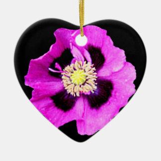Oriental Poppy heart ornament black