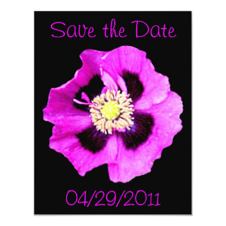 Oriental Poppy 'Save the Date' announcement black