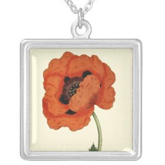 Oriental Poppy Square Pendant Necklace