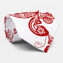 Oriental Red Floral Peacock Paisley Pattern Tie