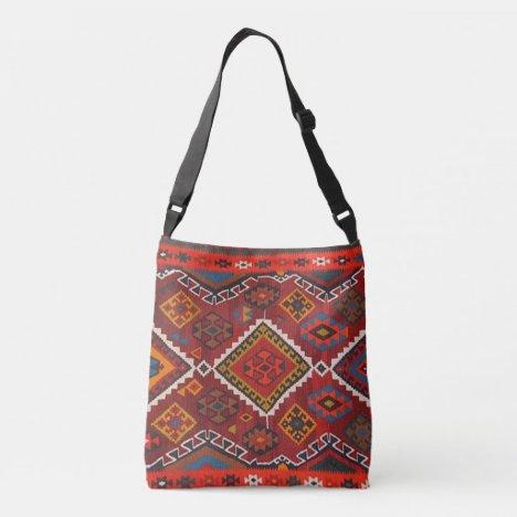 Oriental Red Persian Turkish Rug Crossbody Bag