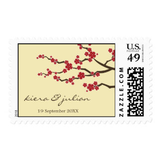 Oriental Red Sakura Cream Asian Wedding Stamps