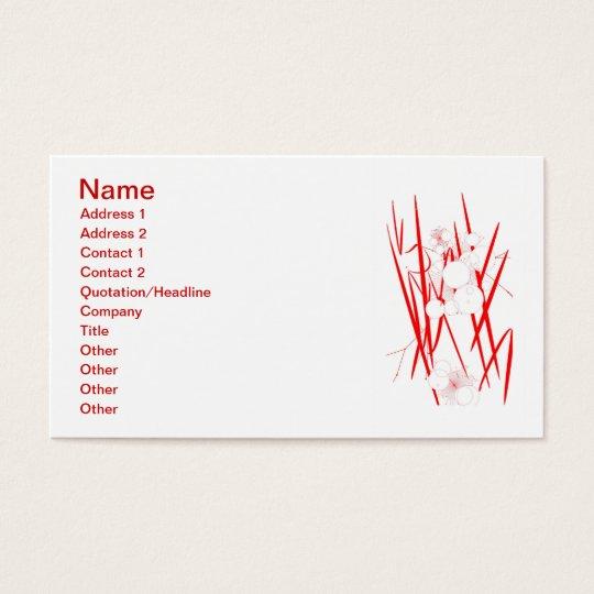 oriental red slash digital art random abstract business card