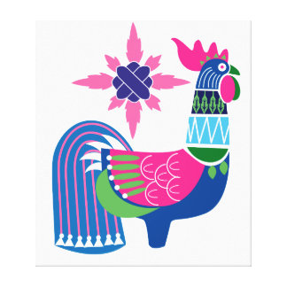 Oriental rooster pink canvas print