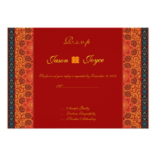 Oriental RSVP double happiness wedding invitations