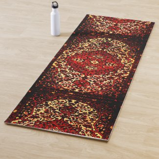 Oriental rug design in dark red and cream color yoga mat