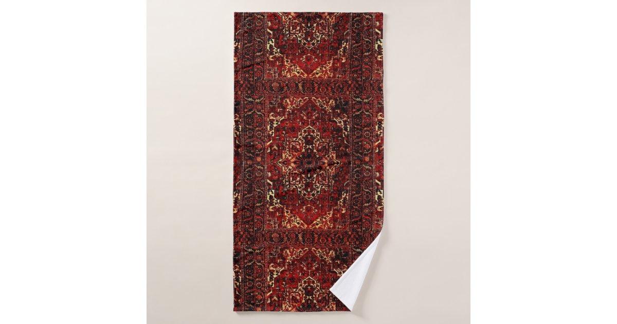 Oriental Rug Design In Dark Red Bath Towel Set Zazzle Com