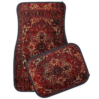 Oriental rug design in  dark red car floor mat