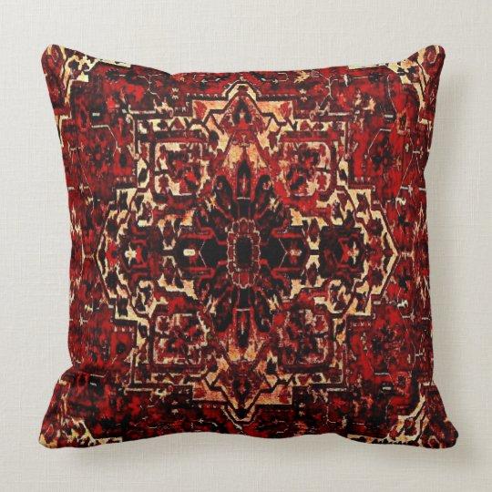 Dark Red Throw Pillows.Oriental Rug Design In Dark Red Throw Pillow