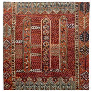 Oriental rug design in orange napkin