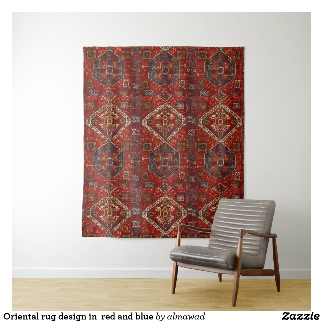 Oriental rug design in  red and blue tapestry
