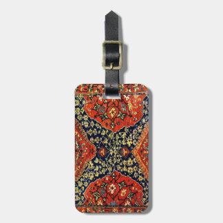 Oriental rug in blue &orange bag tag