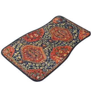 Oriental rug in blue&orange car floor mat