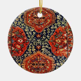 Oriental rug in blue &orange ceramic ornament