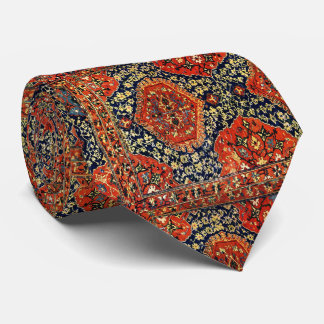 Oriental rug in blue&orange neck tie