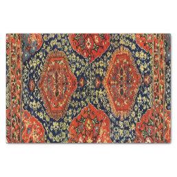 Oriental rug in blue&orange tissue paper