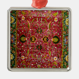 Oriental rug in red and green square metal christmas ornament