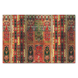 Oriental rug in red and green tissue paper