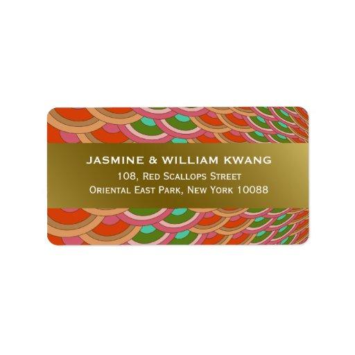 Oriental Scalloped Fan Wedding Address Labels