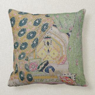 Oriental Scenery Design (colour litho) Throw Pillow