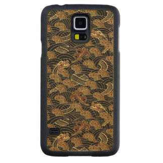 Oriental Sea Dragon Pattern Carved Maple Galaxy S5 Slim Case