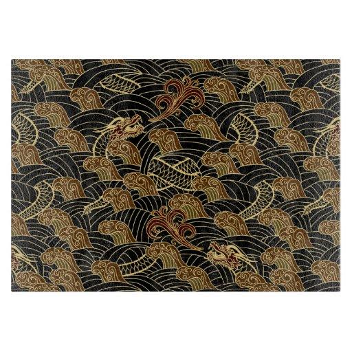 Oriental Sea Dragon Pattern Cutting Board