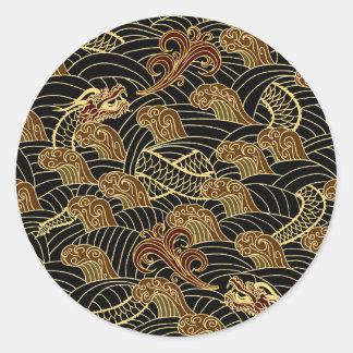 Oriental Sea Dragon Pattern Sticker