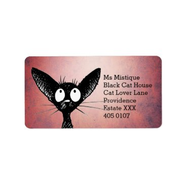 Halloween Themed Oriental Shorthair Black Cat Label
