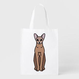 Oriental Shorthair Cat Cartoon Reusable Grocery Bag